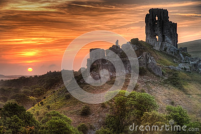 Castle ruins landscape with bright vibrant sunrise