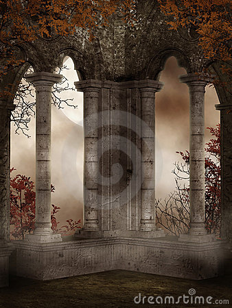 Castle ruins with vines