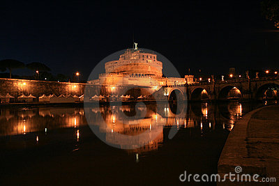 Castle Saint Angel by night, Rome, Italy