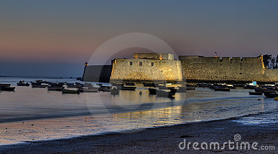 Castle of Santa Catalina at sunset