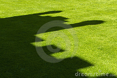 Castle shadow on grass