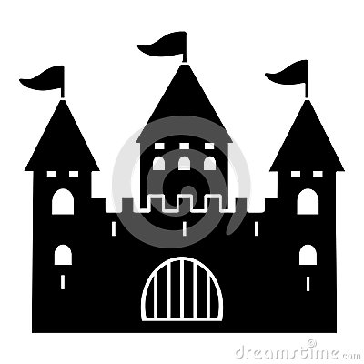 Free Castle Silhouette, Flat Icon, Logo, Outline, Contour, Vector Illustration, Black And White Drawing. Shape Palace With Three Towers Royalty Free Stock Photography - 122205867