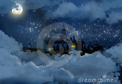 Castle in the sky at night