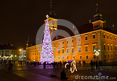 Castle Square  at night, Warsaw, Poland