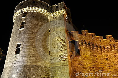 Castle tower at night