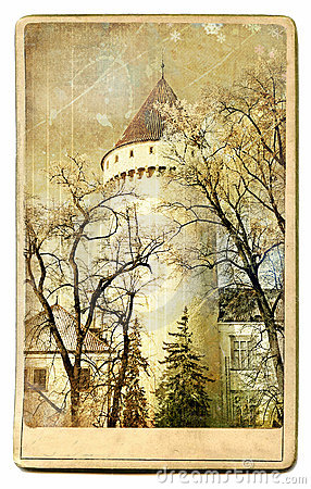 Free Castle - Vintage Card Royalty Free Stock Images - 12127709