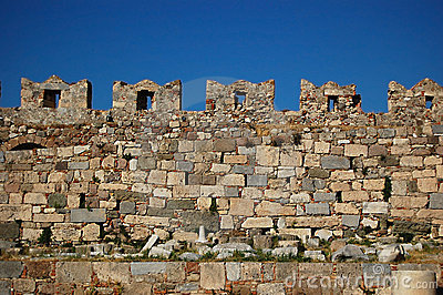 The castle wall battlements of Kos Castle