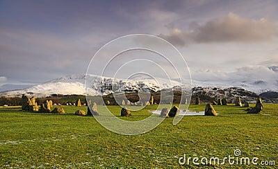 Castlerigg stone circle, winter sun