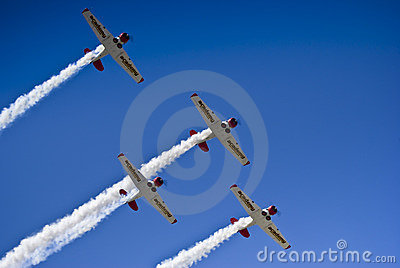 Castrol Flying Lions Harvard Aerobatic Team Editorial Stock Image