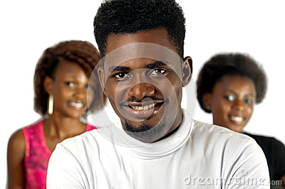 Casual African man with female friends