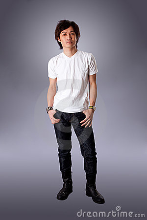 Casual Asian man in white shirt