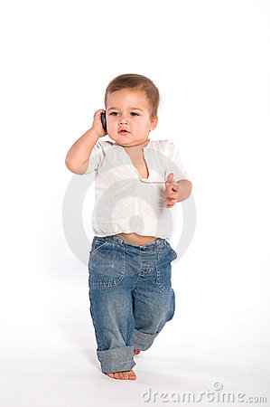 Casual baby with phone