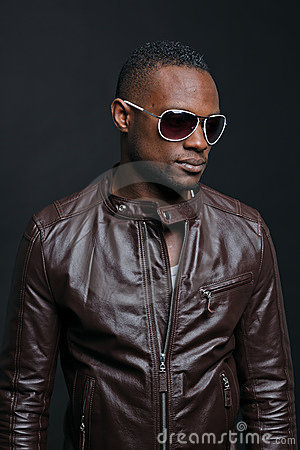 Casual black young man with sunglasses