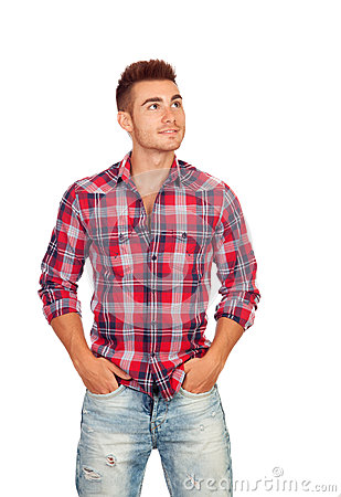 Casual boy with plaid shirt looking up