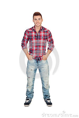 Casual boy with plaid shirt