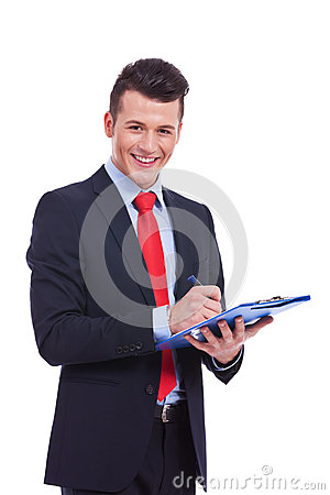 Casual Business man With a Clipboard