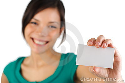 Casual business woman with blank business card