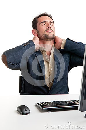Casual Businessman With Pain In His Neck Stock Photo
