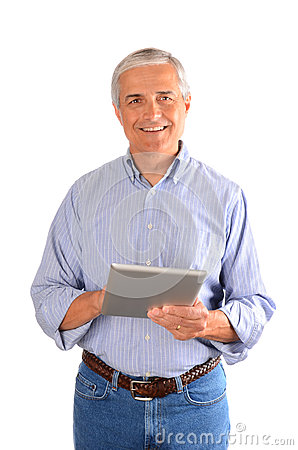 Casual Businessman with Tablet Computer