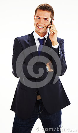 Casual businessman talking on mobile phone