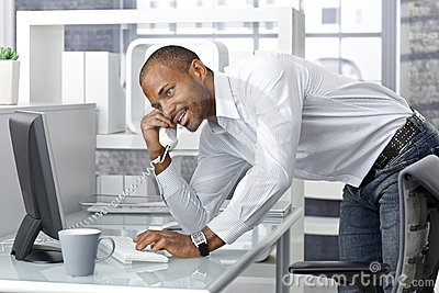 Casual businessman talking on phone