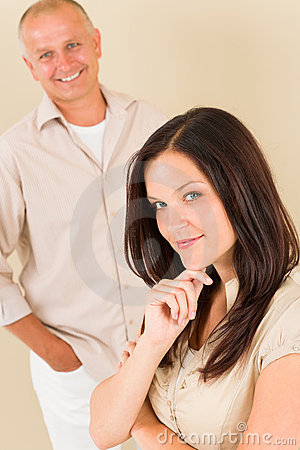 Casual businesswoman attractive with man colleague