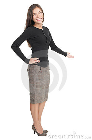 Free Casual Businesswoman Welcome Gesture Royalty Free Stock Images - 12421099