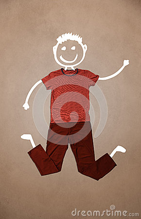 Casual clothes with hand drawn funny character Stock Photo
