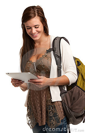 Casual College Student Holding Touchpad