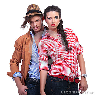 Casual couple with man behind woman