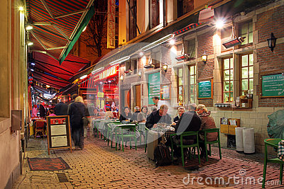 Casual dinning in Brussels, Belgium Editorial Stock Image