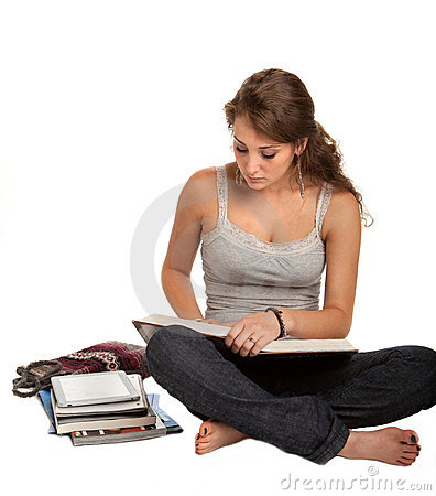 Casual Dressed Female College Student Reading Book