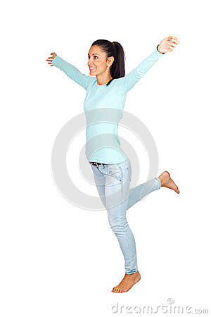 Casual Girl with Arms Wide Open