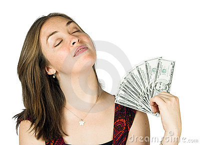 Casual girl with dollars on hand