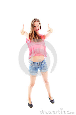 Casual girl giving a thumbs up