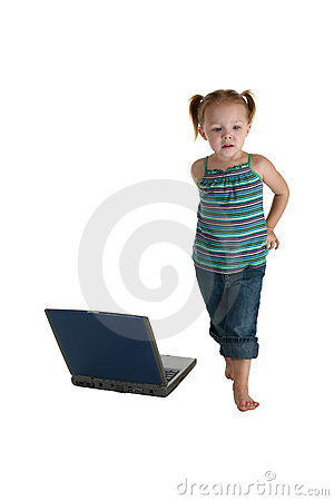 Casual Girl with Laptop
