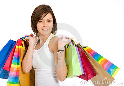Casual girl with shopping bags