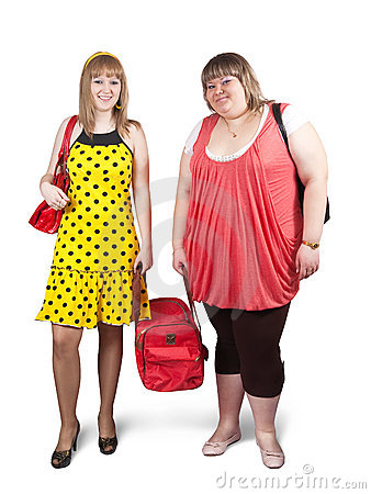 Casual girls with travelling bag
