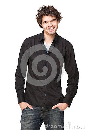 Casual Guy smiling against Isolated White Background