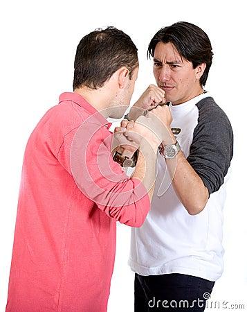 Casual guys fighting