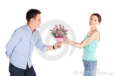 Casual Man Giving Flowers to Girlfriend