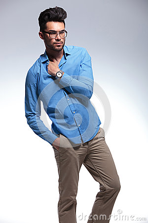Casual man with hand in pocket and shirt