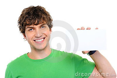 Casual man holding the blank card