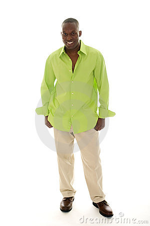 Free Casual Man In Bright Green Shirt Stock Image - 7041381