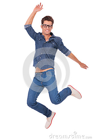 Casual man jumps up