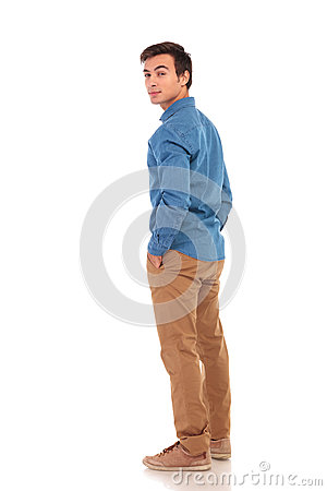 Free Casual Man Looking Back Over His Shoulder Stock Images - 92009894
