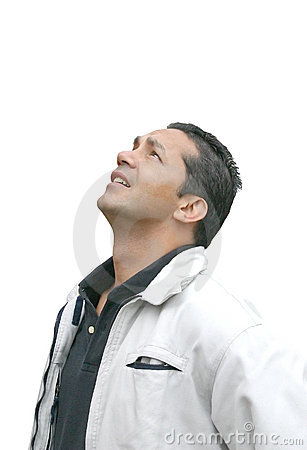 Casual man looking up