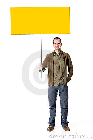 Casual man with a placard