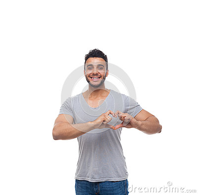Free Casual Man Show Heart Shape Finger Gesture Happy Smile Royalty Free Stock Photography - 73648687