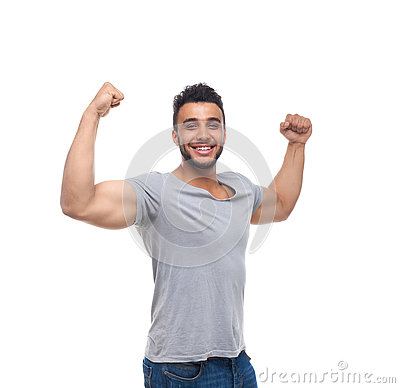 Free Casual Man Strong Biceps Muscle Happy Smile Stock Image - 73648621